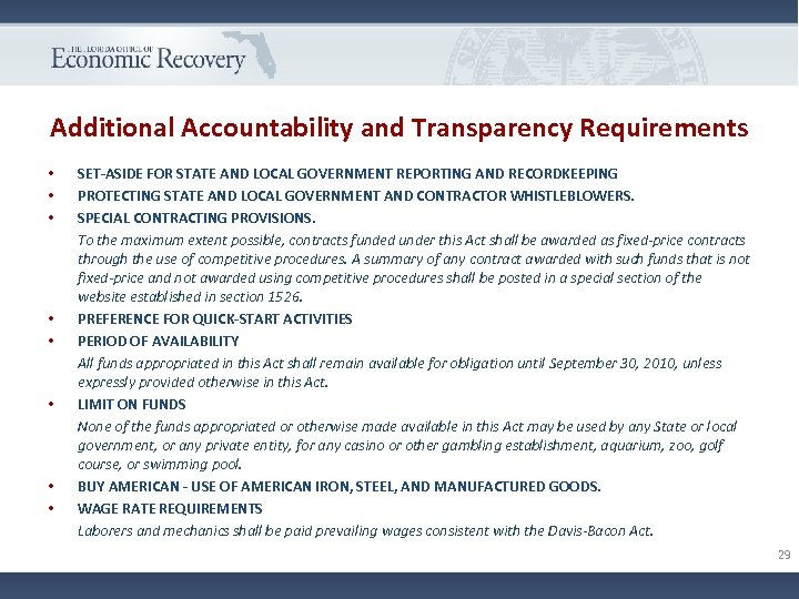 Additional Accountability and Transparency Requirements • • SET-ASIDE FOR STATE AND LOCAL GOVERNMENT REPORTING