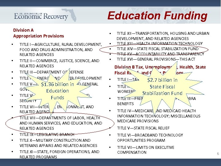 Education Funding Division A Appropriation Provisions • • • TITLE I—AGRICULTURE, RURAL DEVELOPMENT, FOOD