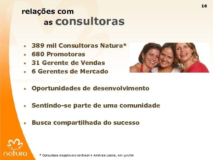 16 relações com as consultoras 389 mil Consultoras Natura* • 680 Promotoras • 31