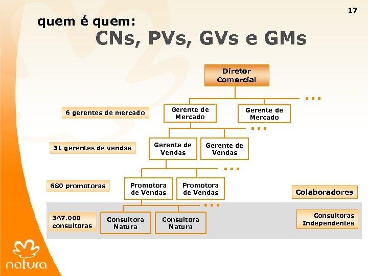 17 quem é quem: CNs, PVs, GVs e GMs Diretor Comercial Gerente de Mercado