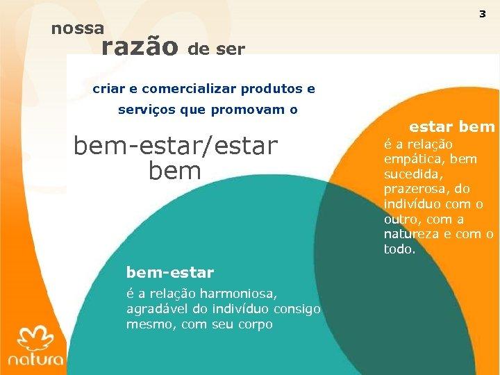 3 nossa razão de ser criar e comercializar produtos e serviços que promovam o