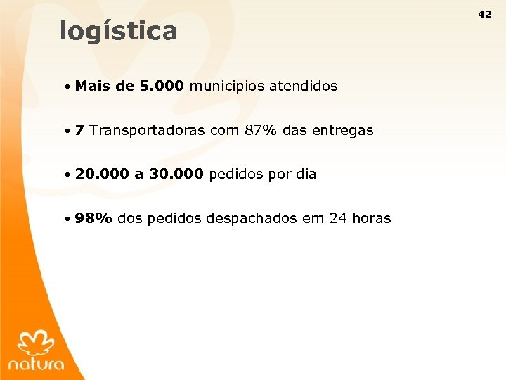42 logística • Mais de 5. 000 municípios atendidos • 7 Transportadoras com 87%