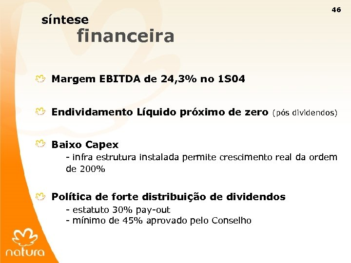 46 síntese financeira Margem EBITDA de 24, 3% no 1 S 04 Endividamento Líquido