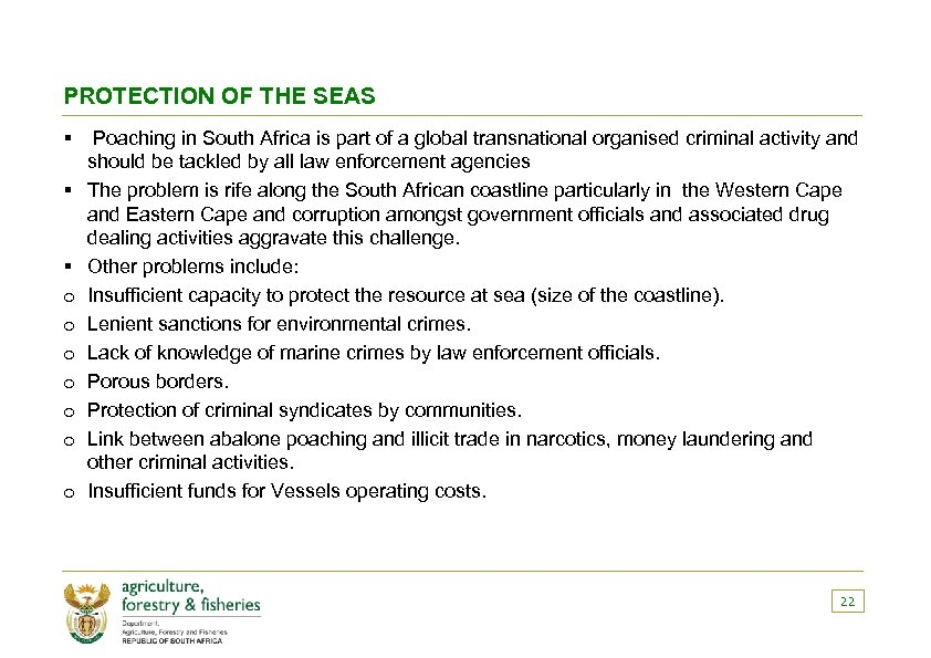 PROTECTION OF THE SEAS § Poaching in South Africa is part of a global