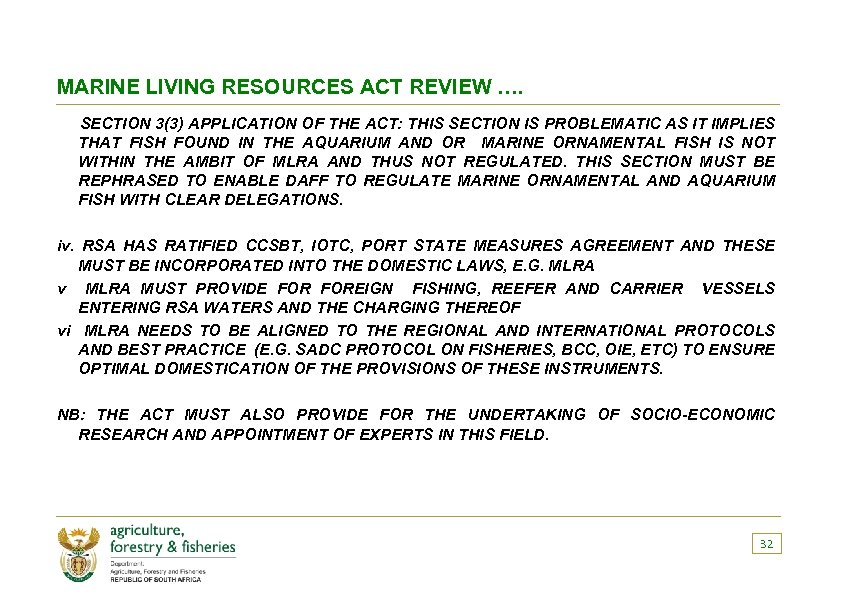 MARINE LIVING RESOURCES ACT REVIEW …. SECTION 3(3) APPLICATION OF THE ACT: THIS SECTION