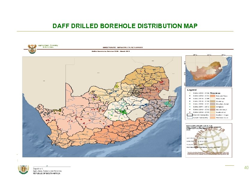 DAFF DRILLED BOREHOLE DISTRIBUTION MAP 40 40
