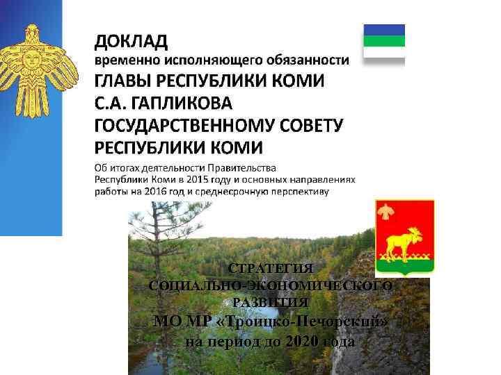 СТРАТЕГИЯ СОЦИАЛЬНО-ЭКОНОМИЧЕСКОГО РАЗВИТИЯ МО МР «Троицко-Печорский» на период до 2020 года