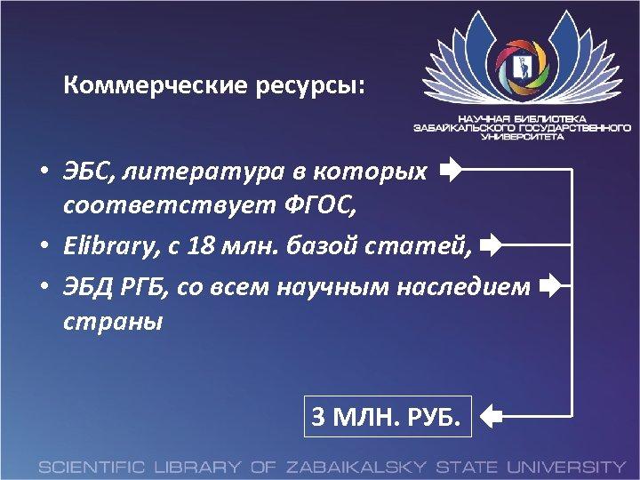 Коммерческие ресурсы: • ЭБС, литература в которых соответствует ФГОС, • Elibrary, с 18 млн.