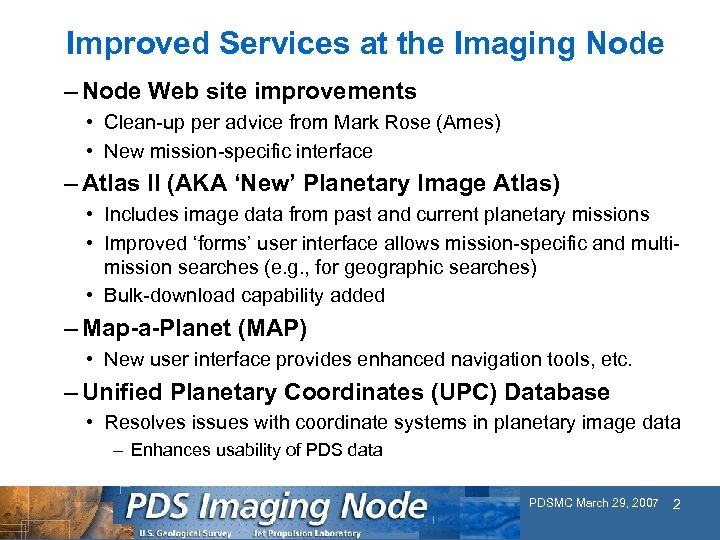 Improved Services at the Imaging Node – Node Web site improvements • Clean-up per