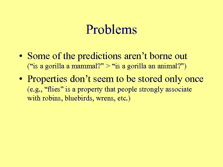 "Problems • Some of the predictions aren't borne out (""is a gorilla a mammal?"
