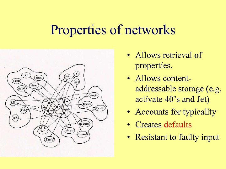 Properties of networks • Allows retrieval of properties. • Allows contentaddressable storage (e. g.