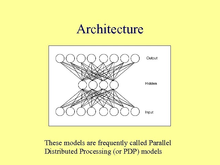 Architecture These models are frequently called Parallel Distributed Processing (or PDP) models