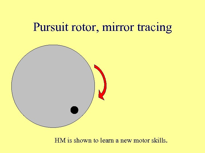 Pursuit rotor, mirror tracing HM is shown to learn a new motor skills.