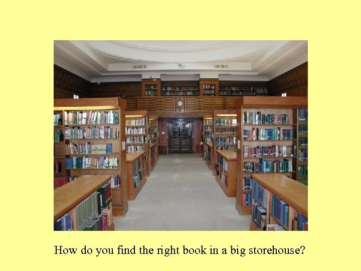 How do you find the right book in a big storehouse?