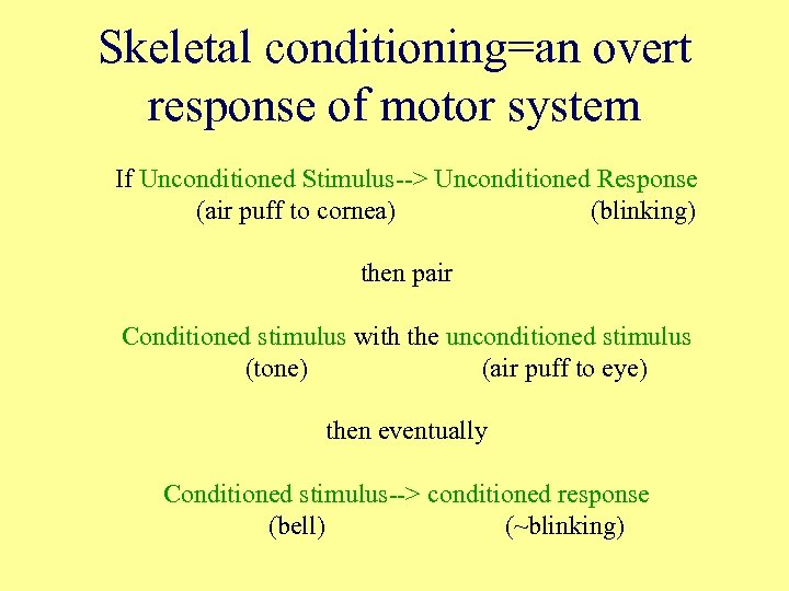 Skeletal conditioning=an overt response of motor system If Unconditioned Stimulus--> Unconditioned Response (air puff