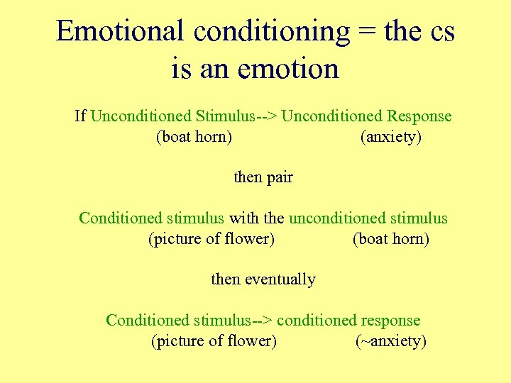 Emotional conditioning = the cs is an emotion If Unconditioned Stimulus--> Unconditioned Response (boat