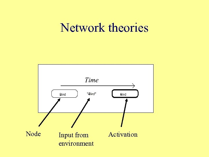 Network theories Node Input from environment Activation