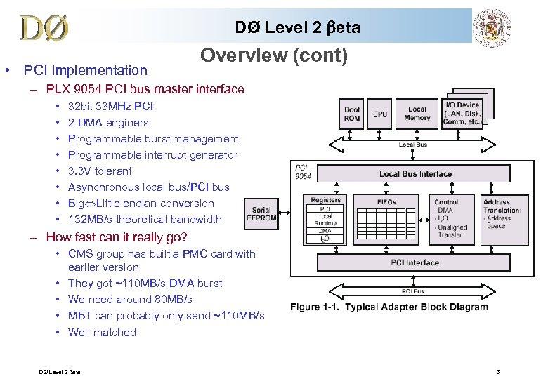 DØ Level 2 beta • PCI Implementation Overview (cont) – PLX 9054 PCI bus
