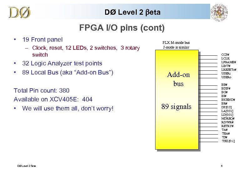 DØ Level 2 beta FPGA I/O pins (cont) • 19 Front panel – Clock,