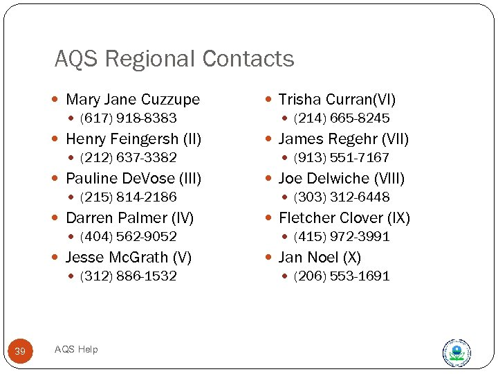 AQS Regional Contacts Mary Jane Cuzzupe (617) 918 -8383 Henry Feingersh (II) (212) 637