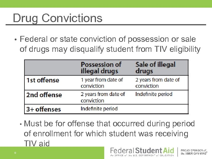 Drug Convictions • Federal or state conviction of possession or sale of drugs may