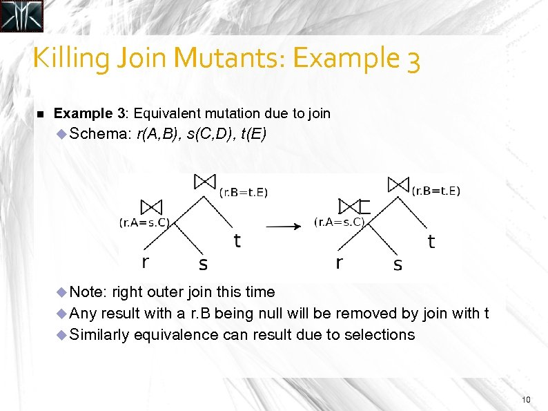 Killing Join Mutants: Example 3: Equivalent mutation due to join Schema: r(A, B), s(C,