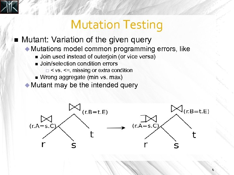 Mutation Testing Mutant: Variation of the given query Mutations model common programming errors, Join