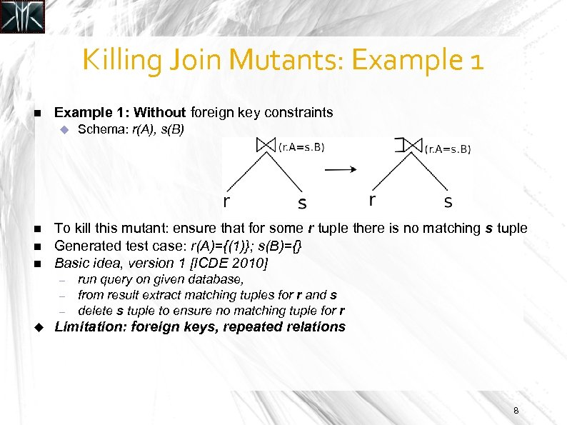 Killing Join Mutants: Example 1: Without foreign key constraints To kill this mutant: ensure