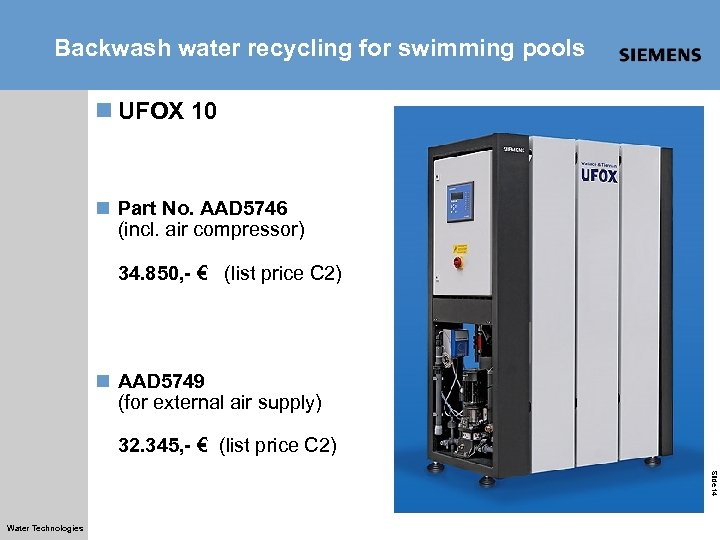 Backwash water recycling for swimming pools n UFOX 10 n Part No. AAD 5746
