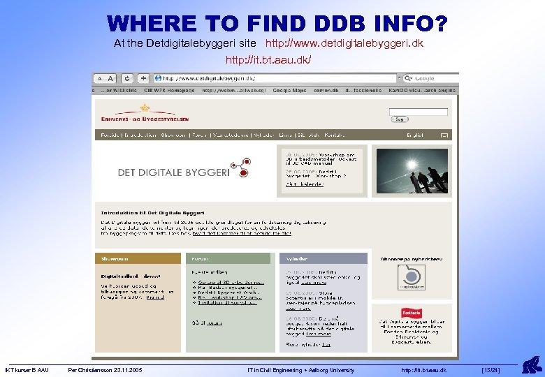 WHERE TO FIND DDB INFO? At the Detdigitalebyggeri site http: //www. detdigitalebyggeri. dk http: