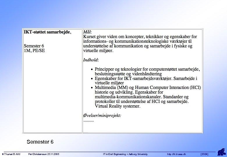 Semester 6 IKT kurser B AAU Per Christiansson 23. 11. 2005 IT in Civil