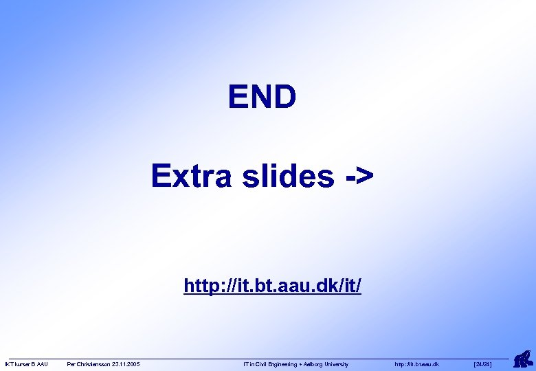 END Extra slides -> http: //it. bt. aau. dk/it/ IKT kurser B AAU Per