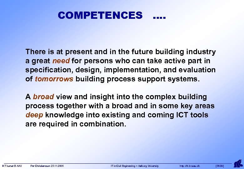 COMPETENCES …. There is at present and in the future building industry a great