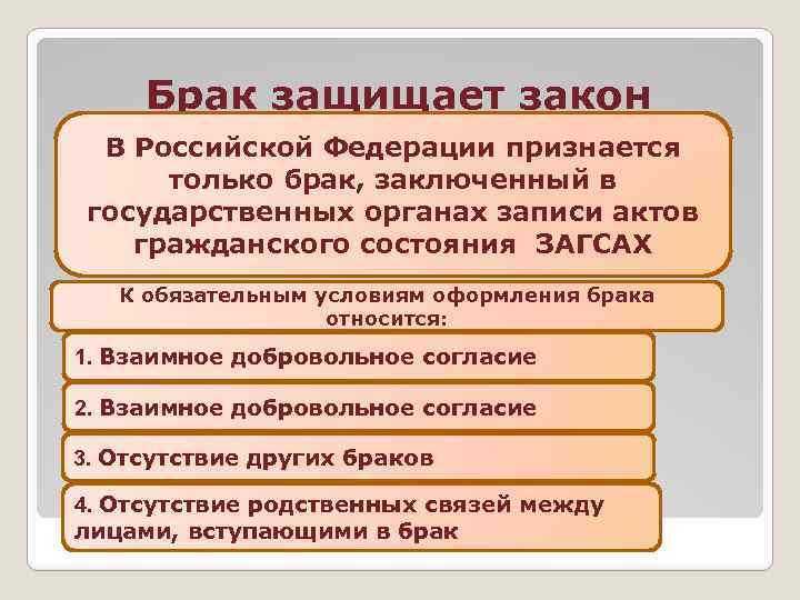 Брак защищает закон В Российской Федерации признается только брак, заключенный в государственных органах записи