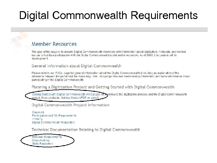 Digital Commonwealth Requirements