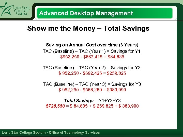 Advanced Desktop Management Show me the Money – Total Savings Saving on Annual Cost
