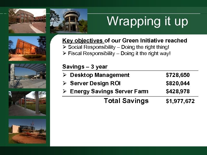 Wrapping it up Key objectives of our Green Initiative reached Ø Social Responsibility –