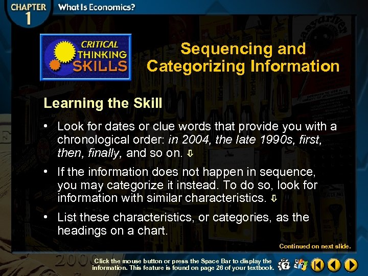 Sequencing and Categorizing Information Learning the Skill • Look for dates or clue words
