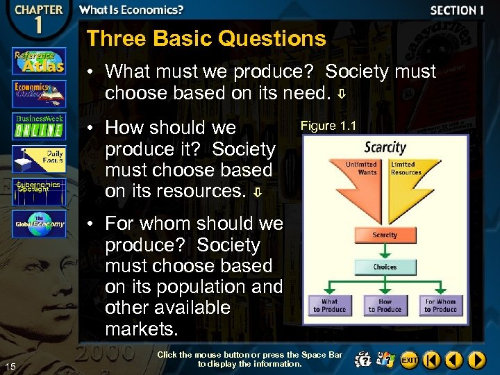Three Basic Questions • What must we produce? Society must choose based on its