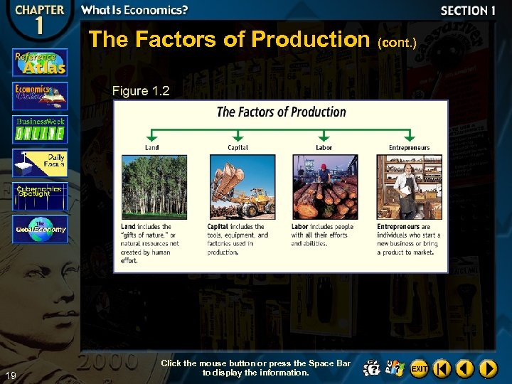The Factors of Production (cont. ) 19 Click the mouse button or press the