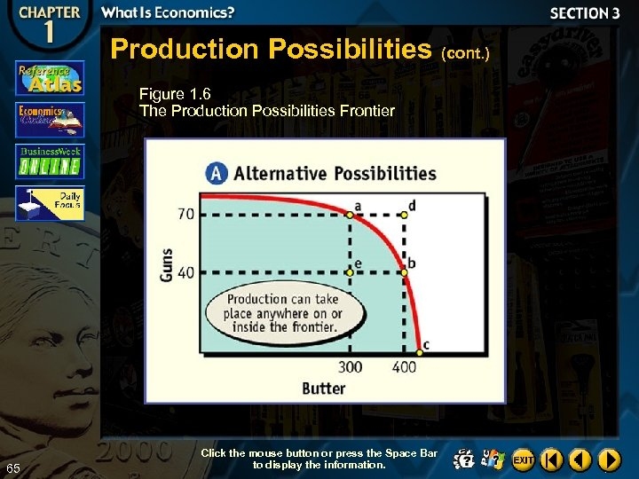 Production Possibilities (cont. ) Figure 1. 6 The Production Possibilities Frontier 65 Click the