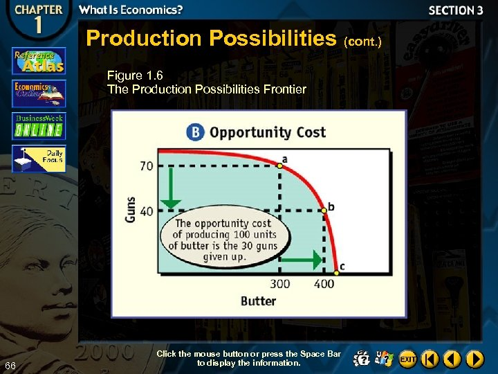 Production Possibilities (cont. ) Figure 1. 6 The Production Possibilities Frontier 66 Click the