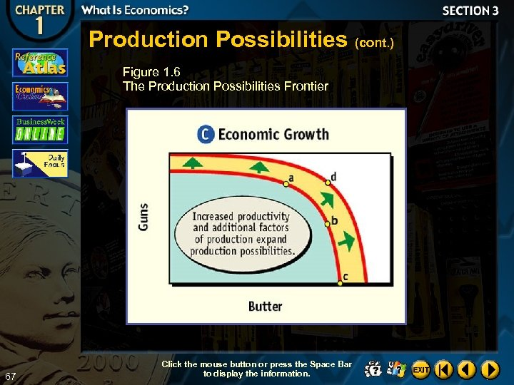 Production Possibilities (cont. ) Figure 1. 6 The Production Possibilities Frontier 67 Click the