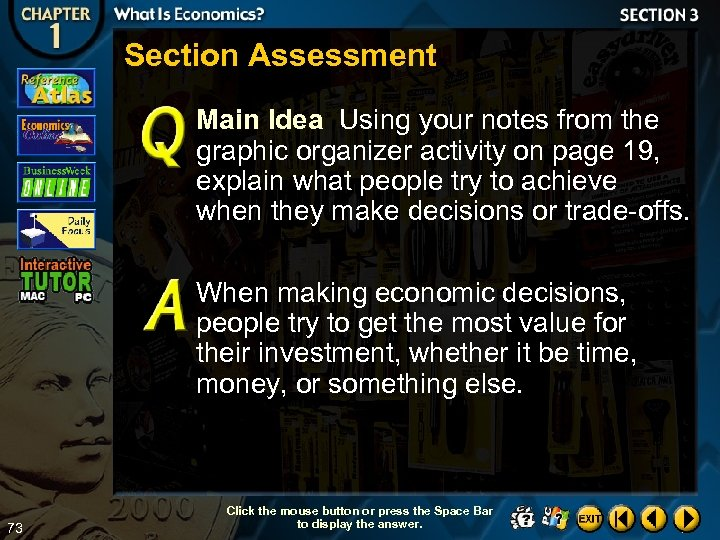 Section Assessment Main Idea Using your notes from the graphic organizer activity on page