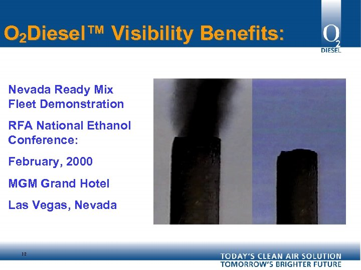 O 2 Diesel™ Visibility Benefits: Nevada Ready Mix Fleet Demonstration RFA National Ethanol Conference: