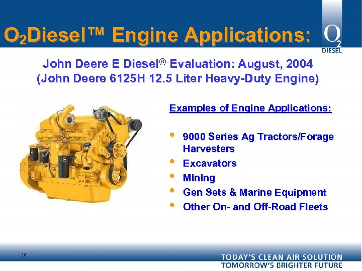 O 2 Diesel™ Engine Applications: John Deere E Diesel® Evaluation: August, 2004 (John Deere