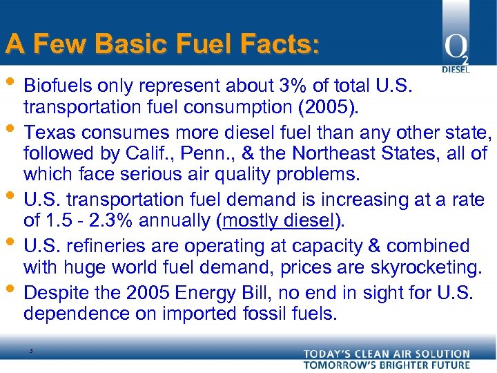 A Few Basic Fuel Facts: • Biofuels only represent about 3% of total U.