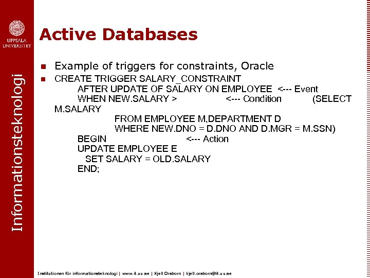 Active Databases Informationsteknologi n Example of triggers for constraints, Oracle n CREATE TRIGGER SALARY_CONSTRAINT
