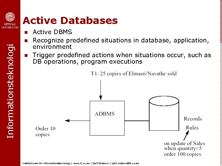 Active Databases n Informationsteknologi n n Active DBMS Recognize predefined situations in database, application,