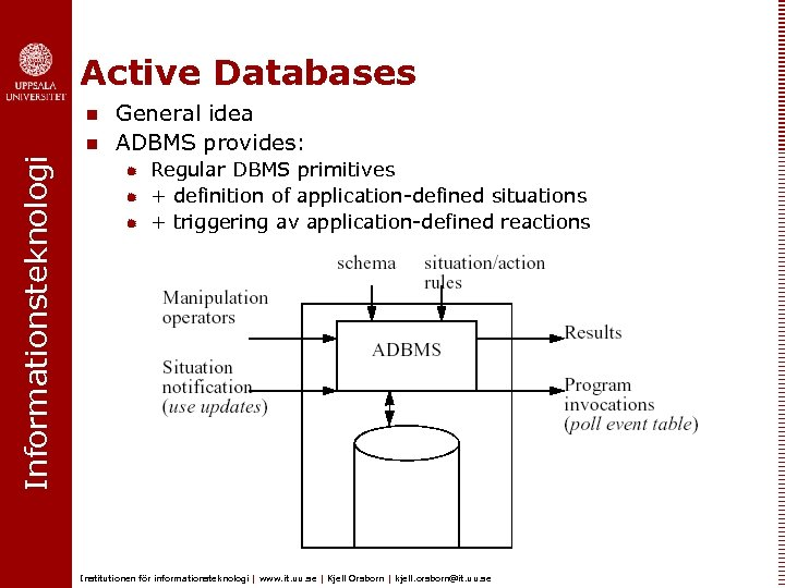 Active Databases n Informationsteknologi n General idea ADBMS provides: ® ® ® Regular DBMS